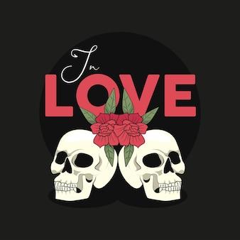 Crânes et roses