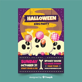 Crânes avec sucettes flyer de fête d'halloween