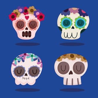 Crânes de sucre avec des fleurs