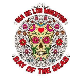 Crânes de sucre mexicain avec fond floral. le jour des morts.