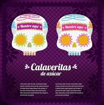 Crânes de sucre mexicains pour le jour des morts - modèle d'espace de copie horizontal