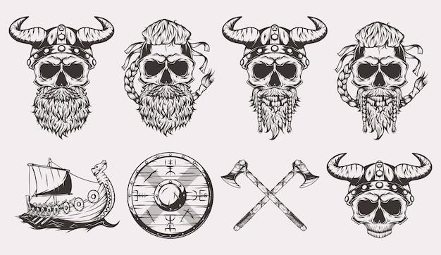 Crânes vikings, bateau, bouclier et haches