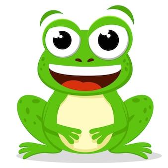 Crapaud vert est assis et sourit illustration