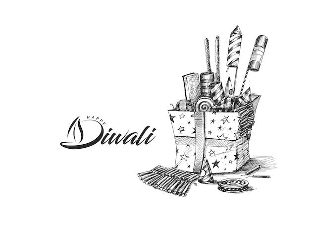 Craquelins diwali avec boîte-cadeau, illustration vectorielle de croquis dessinés à la main.