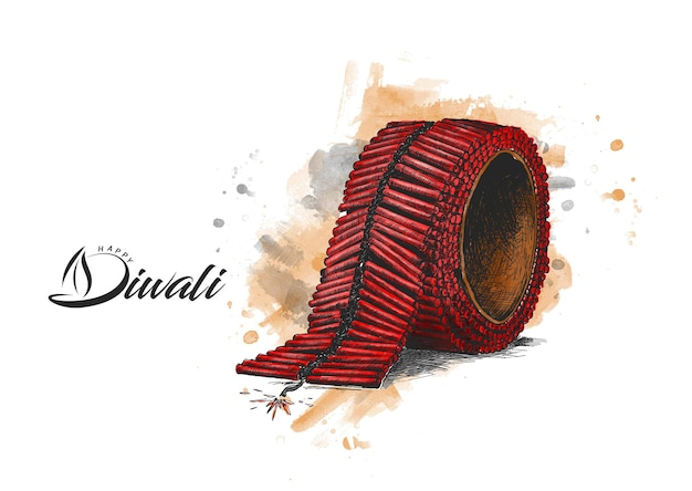Craquelins diwali, illustration vectorielle de croquis dessinés à la main.
