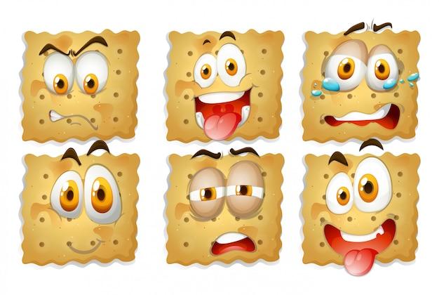 Craquelins avec des expressions faciales