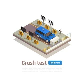 Crash test composition isométrique de sécurité automobile avec texte modifiable et vue de la voiture s'écraser dans la barrière