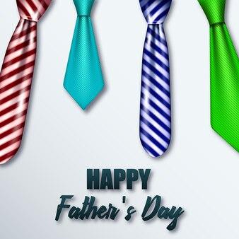 Cravates colorées réalistes pour le jour de son père