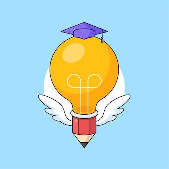 Crayon ampoule portant toga hat vector illustration pour la conception de concept visuel d'éducation intelligente