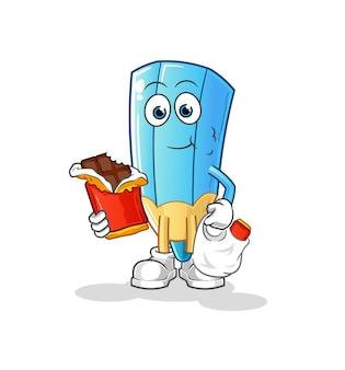 Le crayon de couleur mange la mascotte de chocolat. dessin animé