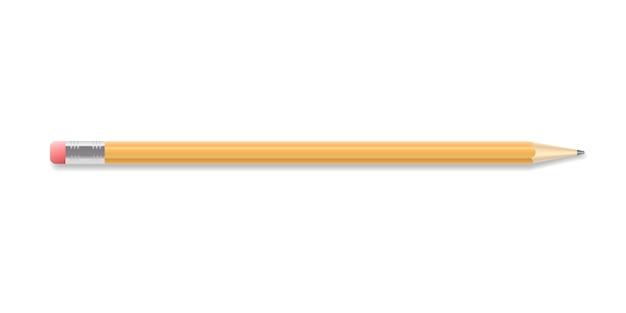 Crayon à dessin réaliste avec extrémité en caoutchouc. élément de conception graphique détaillé aiguisé. fourniture de bureau, papeterie. isolé sur fond blanc illustration vectorielle