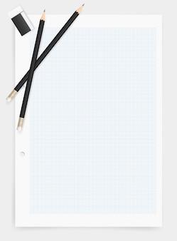 Crayon et gomme sur fond de papier à dessin.