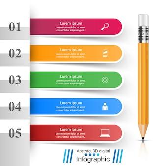 Crayon, icône de l'éducation. infographie d'entreprise