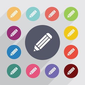 Crayon, jeu d'icônes plat. boutons colorés ronds. vecteur