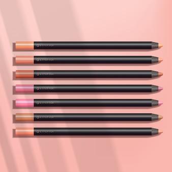 Crayon à lèvres / liner en fond rose
