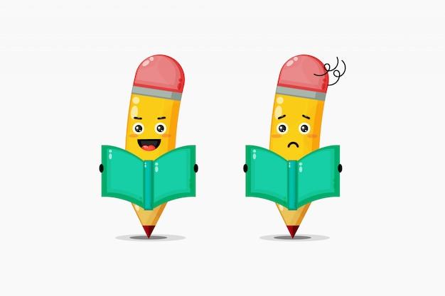 Crayon mignon lit un livre