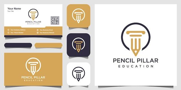 Crayon pilier droit logo vector icon illustration et conception de carte de visite