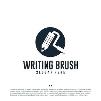 Crayon, pinceau, combinaison, modèle de conception de logo