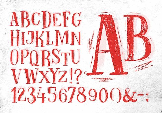 Crayon à Police Vintage En Couleur Rouge Vecteur Premium