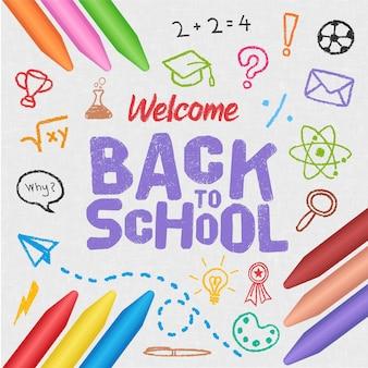 Crayon réaliste retour à l'arrière-plan de l'école