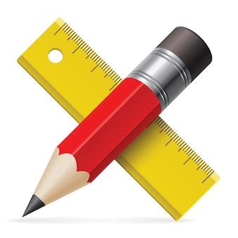 Crayon rouge et règle jaune