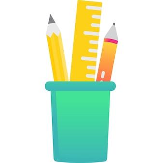 Crayon et stylo dans l'icône de porte-gobelet vecteur boîte