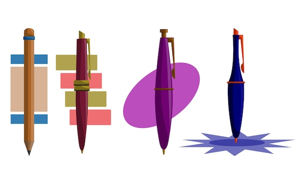 Crayon stylo design template vector set