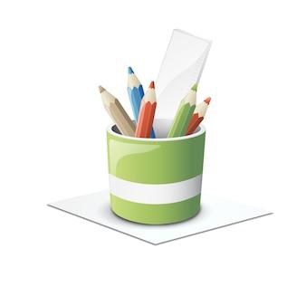 Crayons, 3d, vecteur, illustration