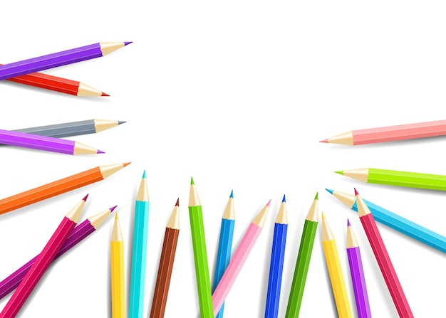 Crayons arc-en-ciel isolés sur fond blanc.
