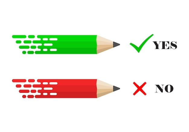 Crayons avec coches oui et non