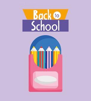 Crayons de couleur dans la boîte d'approvisionnement illustration de dessin animé