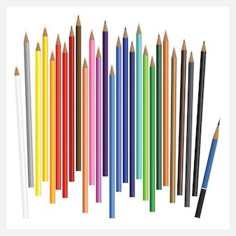 Crayons de couleur avec dessin 3d réaliste