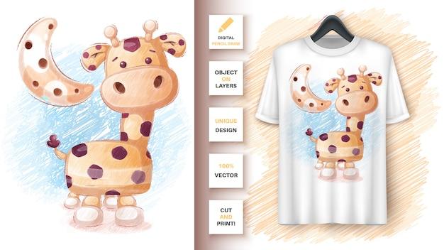 Crayons de couleur girafe - affiche et merchandising