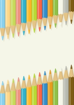 Crayons de couleur multicolores en bois alignés en diagonale