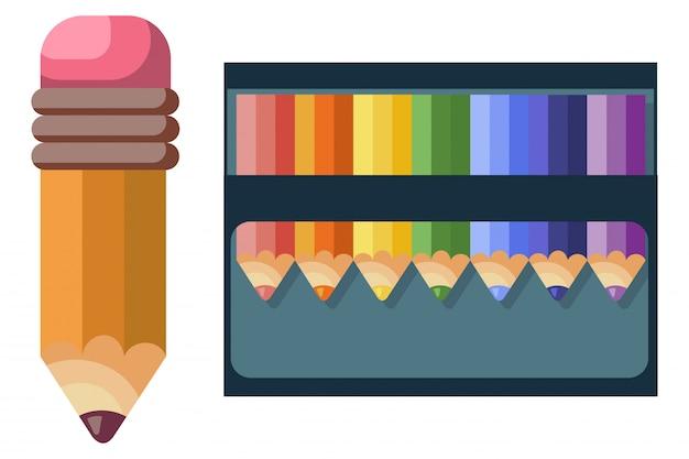 Crayons de couleur pour l'école et dessin sur fond blanc