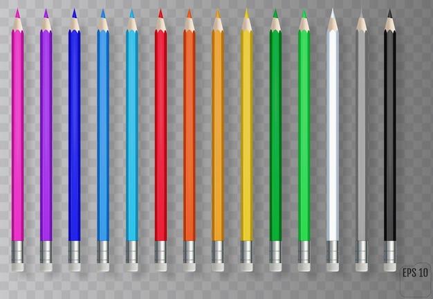 Crayons de couleur réalistes sur fond transparent