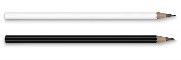 Crayons, noir et blanc, vue de dessus.