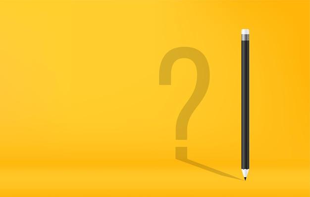Crayons avec ombre de point d'interrogation sur fond jaune