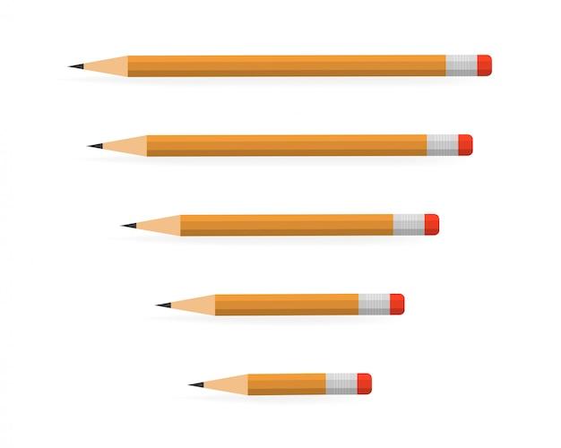 Crayons de plomb de différentes longueurs sur blanc