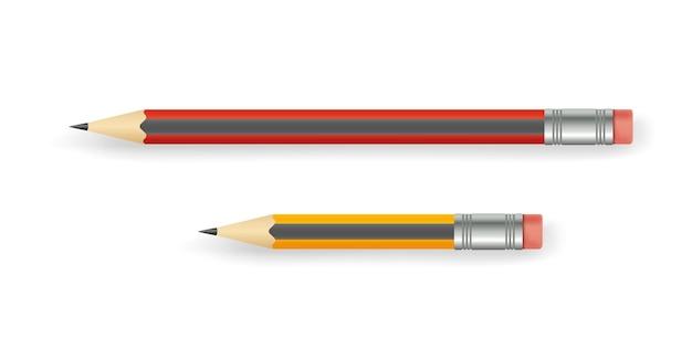 Crayons réalistes avec gomme de différentes longueurs isolés sur blanc