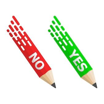 Crayons avec texte oui et non