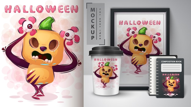 Crazy poster citrouille et merchandising