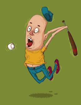 Crazylooking adolescent joueur de baseball saute haut pour frapper la balle