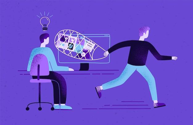 Créateur assis à son bureau et travaillant et plagiaire ou pirate volant ses idées, son contenu, ses résultats de travail