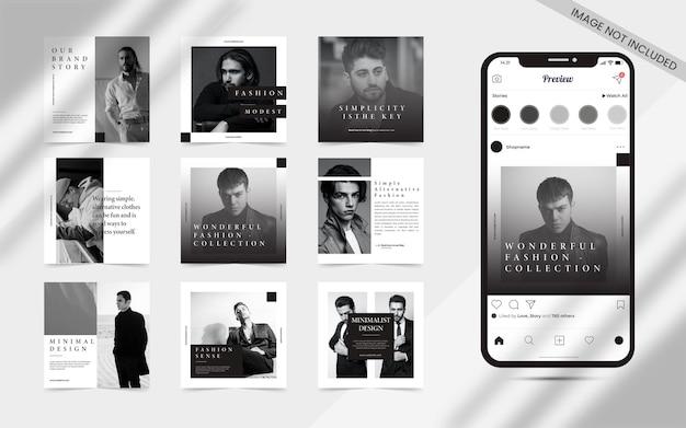 Créateur de contenu minimaliste sans couture pour les médias sociaux post carrousel ensemble de modèle de promotion de bannière de vente de mode carré puzzle instagram