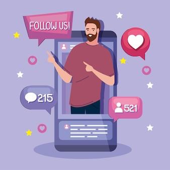Créateur de contenu sur smartphone