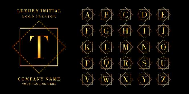 Créateur de logo: ensemble de lettres ou de logo initial, couleur dorée