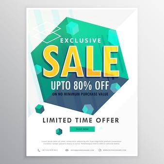 Créatif vente affiche conception bannière flyer avec des cubes 3d conception de vecteur