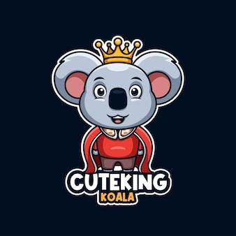 Créatifs koala roi dessin animé mascotte logo mignon