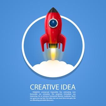 Création artistique de lancement de fusée spatiale. illustration vectorielle